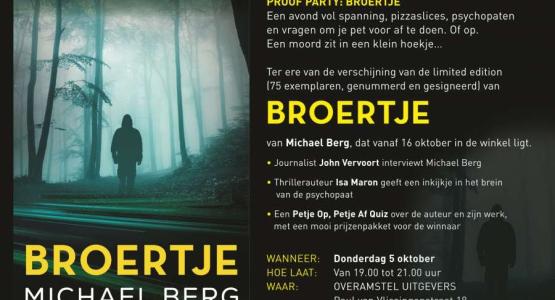 Feestelijke lancering Broertje, de nieuwe thriller van Michael Berg